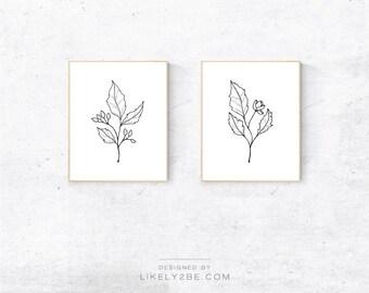 Floral Print Set of 2 Prints Botanical Line Art Printable Wall Art Pencil Drawing Nursery Print