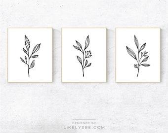 Floral Print Set of 3 Prints Botanical Line Art Printable Wall Art Pencil Drawing Nursery Print