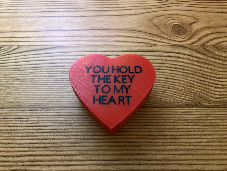3 x 3 x 1 Skeleton key Vinyl lettering 3D printed Heart Box You hold the key to my heart