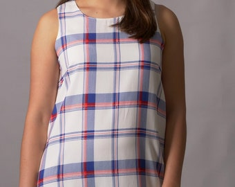 Preppy white red and blue dress.  Unique hand-made one of a kind spring/summer dress for parties/special occasions.