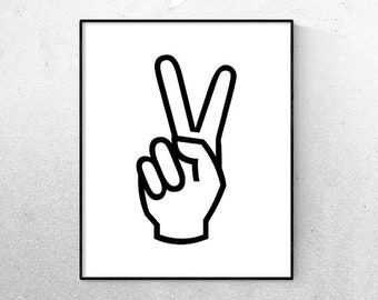 picture regarding Printable Peace Sign identified as Leisure indication print Etsy