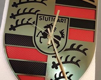 Porsche crest logo wall clock