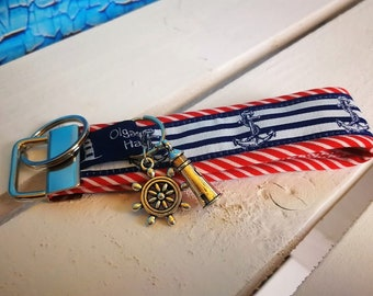 Keychain, handbags pendant sylt made of fabric in red with steering wheel, lighthouse and Anchor-handmade/handmade-gift