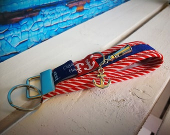 Keychain, handbags pendant sylt made of fabric in red with lighthouse and anchor-handmade/handmade-gift Birthday