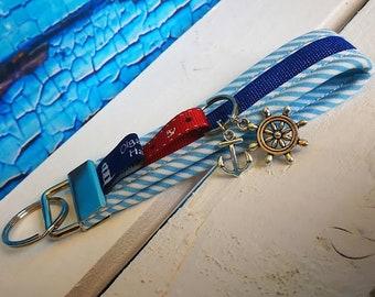 Keychain, handbags pendant sylt made of fabric with steering wheel and anchor-handmade/handmade-gift Birthday