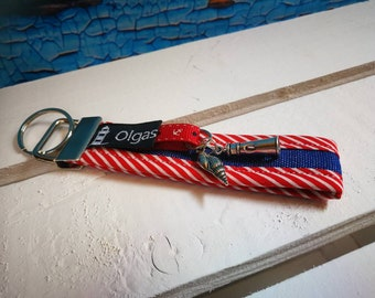 Keychain, handbags pendant sylt made of fabric in red with steering wheel and lighthouse-handmade/handmade-gift Birthday