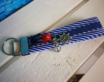 Keychain, handbags pendant sylt made of fabric in blue with steering wheel and anchor-handmade/handmade-gift Birthday