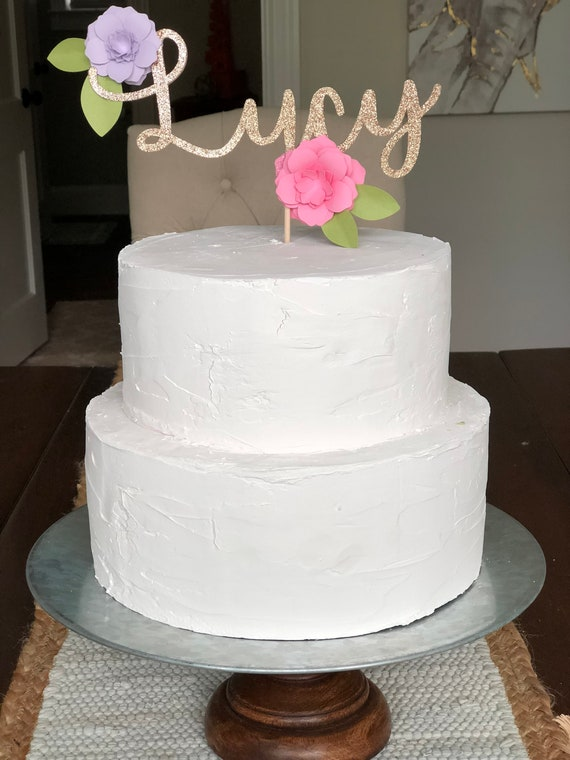 Customized Name Cake Topper With Flower Decor Personalized