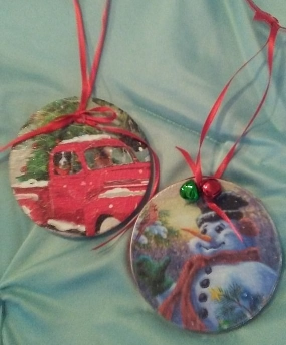 Pair of thin Decoupaged Wood Ornaments Pickup Truck and Snowman with  Cardinal