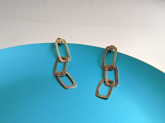 Sterling VERMEIL LINK DANGLE Earrings Vintage Ital
