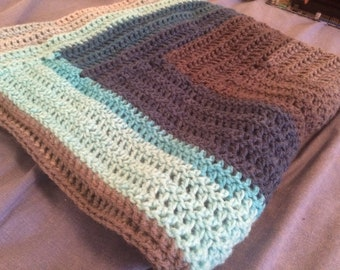Hand Crocheted Log Cabin Baby/Lap Blanket