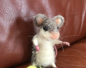 Needle-felted gray/white mouse with beetle