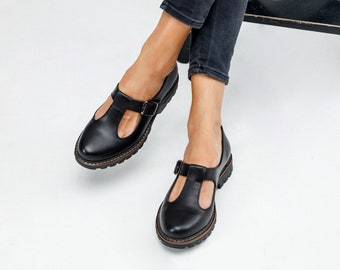 Women Mary Janes handmade black leather shoes, flat mary janes shoes