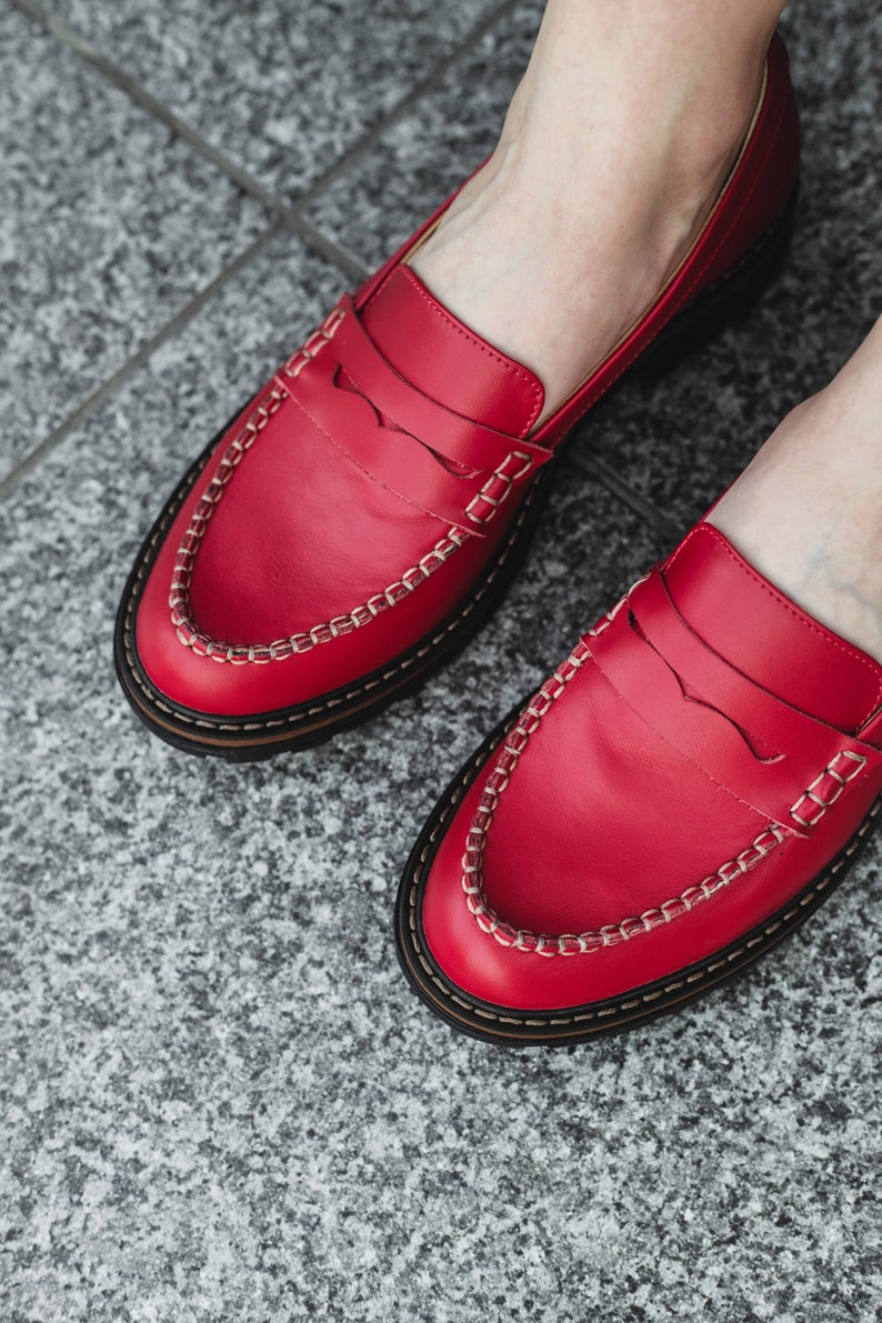 1950s Style Clothing & Fashion Red penny loafer women shoes $119.20 AT vintagedancer.com