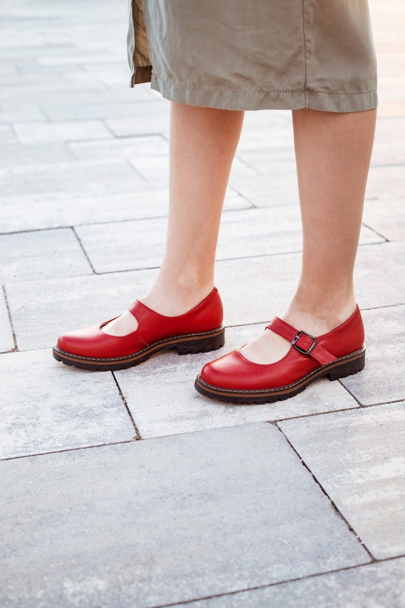 Retro Vintage Flats and Low Heel Shoes Women red mary jane shoes $121.60 AT vintagedancer.com
