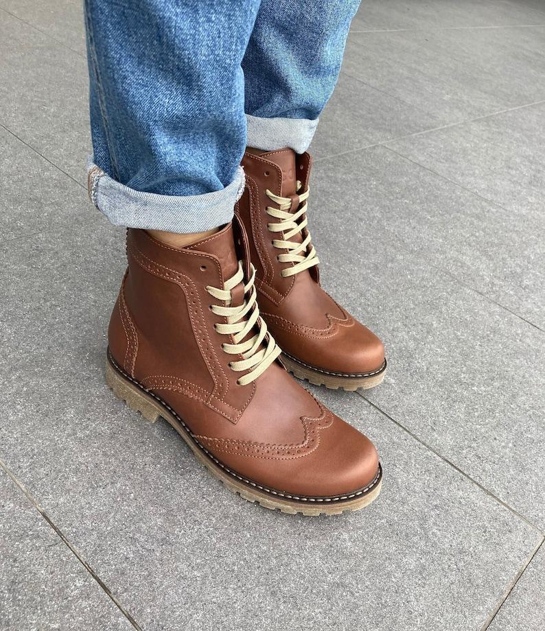 1940s Women's Footwear Brown leather women brogue boots $136.00 AT vintagedancer.com