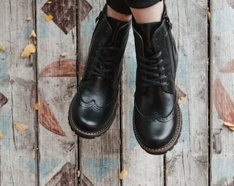 Brogue boots, handmade boots, military boots, leather winter boots, 11 US size, womens boots, black womens boots, leather autumn boots