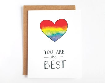 Cute LGBT Cards Rainbow Pride Cards You Are The Best Card
