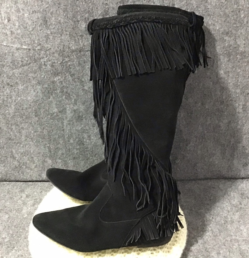 f99785cd886b Sam Edelman Women s Utah Fringe Boots Black Suede Leather