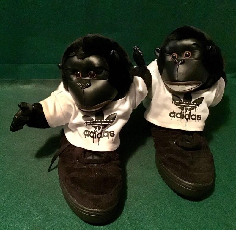 new style c8f12 1d91a Adidas Rare Jeremy Scott Gorilla Adidas Sneakers W Shirts Size   Etsy