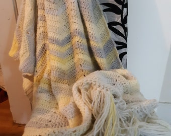 Beautiful Pale Yellow and Grey Throw