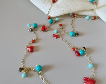 AUTUMN Red Coral & Turquoise Long Necklace