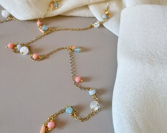SPRING Aquamarine Long Necklace & Pink Coral