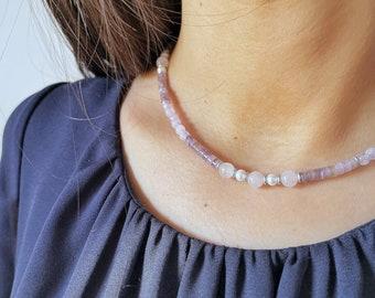 SUMMER Lavender amethyst crew neck, pink quartz & pearls