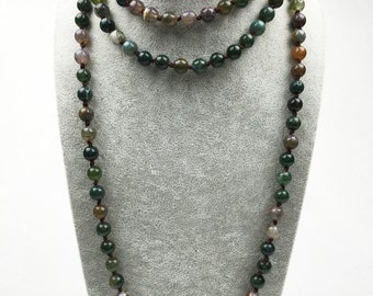 Knotted Natural stone Agate Mala necklace