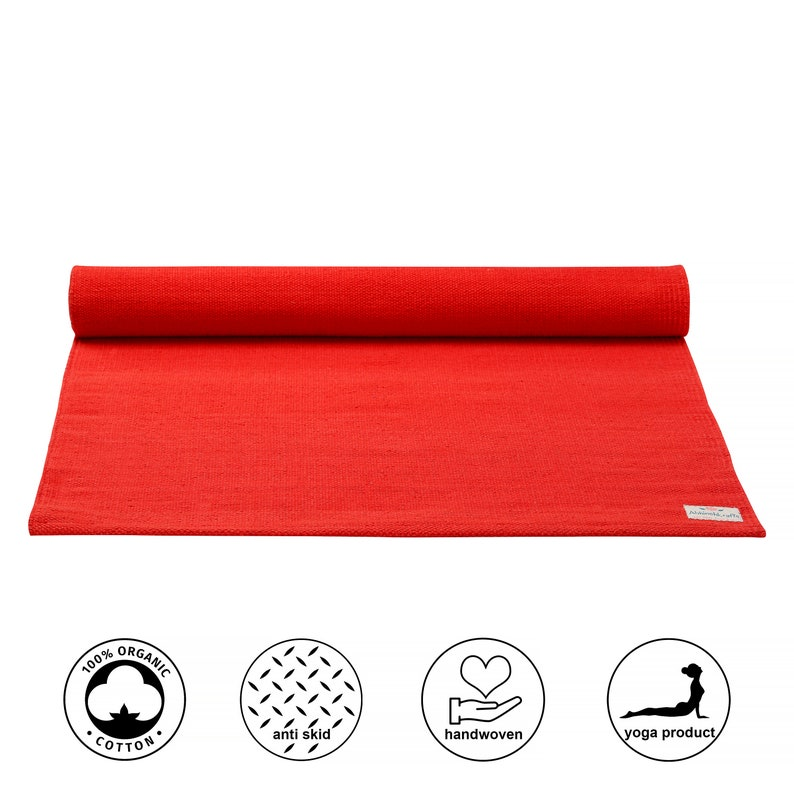 Organic Natural Cotton Mat for Yoga Pilates Fitness and image 0