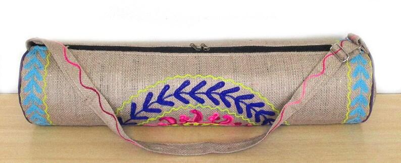 Jute Yoga Strap Carrier Handcrafted Yoga Bag for Yoga loverYogi BohoVintageBlock Printed YogaPilatesExercise Bag Jute Yoga Bag