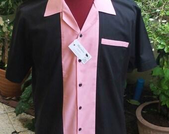 cf9b473c1bd Men s Rockabilly Vintage 1950 s Style Retro Bowling Shirt Black   Pink