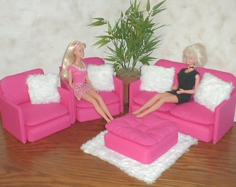 Barbie Doll Furniture HOT PINK Living Room Set W/ White Faux Fur Rug And  Pillows 1:6th Scale Bratz Monster High Blythe Couch Chair