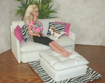 Barbie Doll Furniture White Loveseat / Ottoman Set W/ HOT PINK And ZEBRA  Pillows Rug 1:6th Scale Bratz Monster High Blythe Couch Living Room