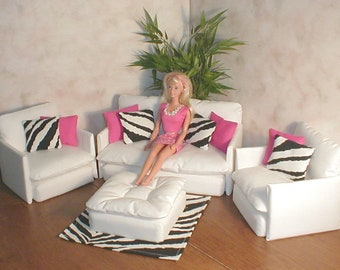 Barbie Doll Furniture WHITE LIVING ROOM Set With Hot Pink And Zebra  Accessories Blythe Bratz Monster High
