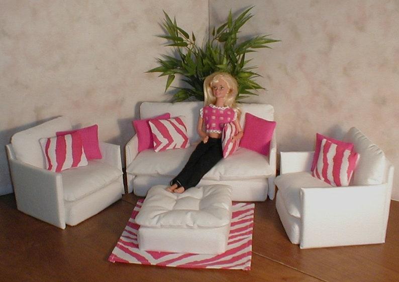 Barbie Doll Furniture White Living Room Set W Hot Pink Zebra Etsy