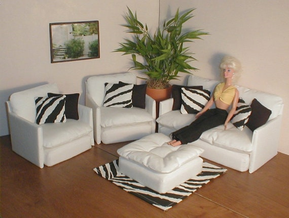 Barbie Doll Furniture White Living Room Set w/ BLACK and ZEBRA Rug and  Pillows 1:6th Scale Bratz Monster High Blythe couch chair