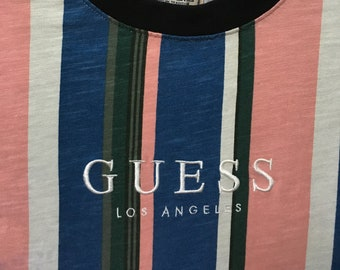 e2923547e Vintage90s Guess Jeans Los Angeles Embroidery / Striped Retro /Sport Street  Wear /T-shirt/S 19.5