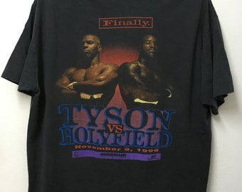 a1afb68f Vintage90s Mike Tyson 1996 Tyson VS Holyfield Finally Boxing Raptees T-shirt /Xl 23.5