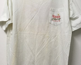 Free Ship Vintage 90s Winston Racing Team T-shirt/Xl/Cot50 poly50