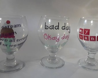 Ice cream and drinking glasses