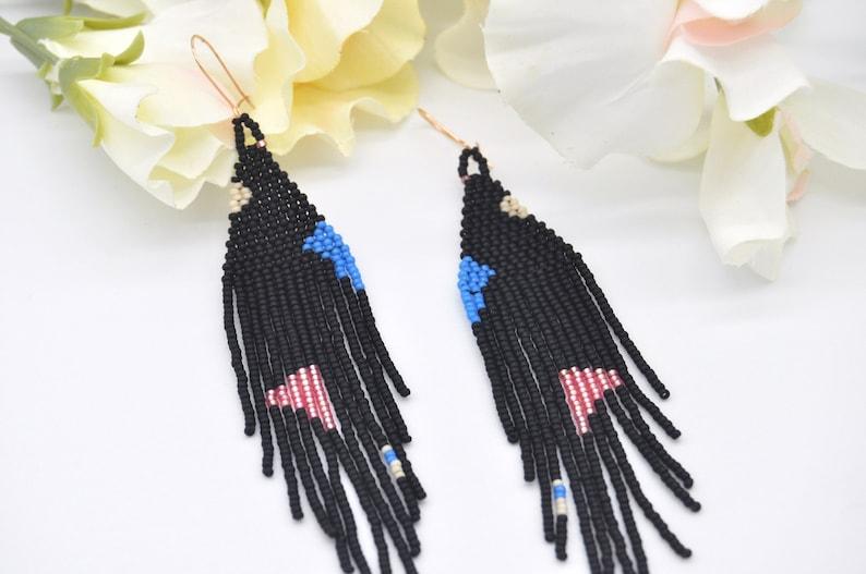 Beaded earrings Fringe earrings Handwoven earrings Darkness Black earrings  Minimalist earrings Long earrings Boho earrings.