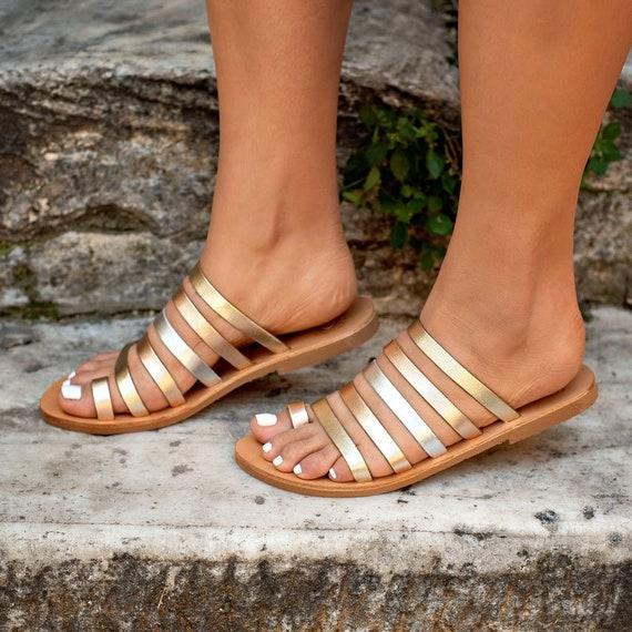 HALKI Flat sandals, Metalic Leather Sandals, Greek Leather Sandals, Women's Leather Sandals, Womens Shoes, Handmade Sandals, summer shoes