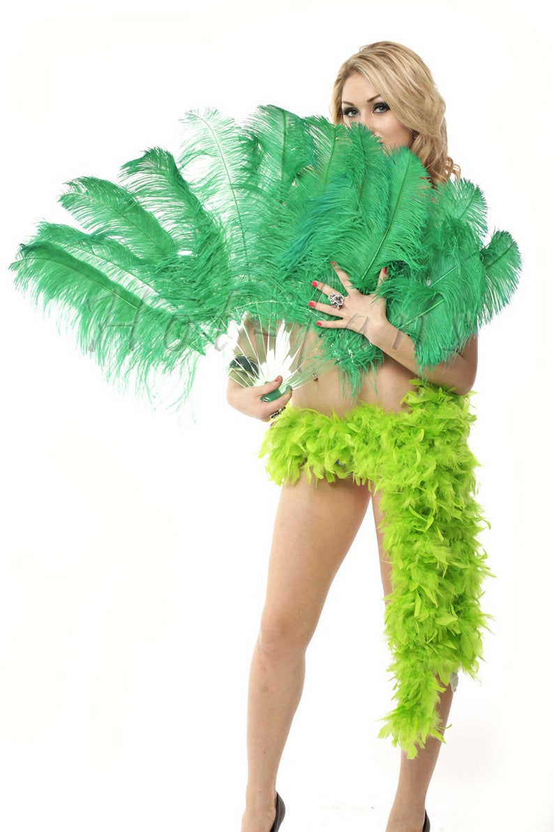 set of 2 fans green single Ostrich Feather Fan with Travel leather Bag