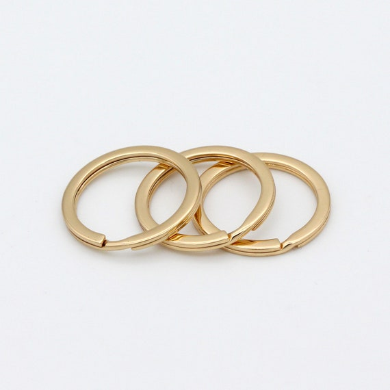 10 Key rings 25 x 2mm bronze tone FS375