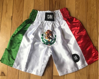 USA//MEXICO Flags Black Elastic Belt Boxing Shorts Trunks Boxing Training Fitness