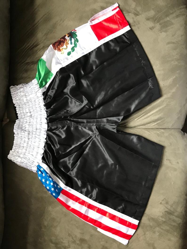 MEXICO//US Flag Black Elastic Belt Boxing Shorts Trunks Boxing Training Fitness