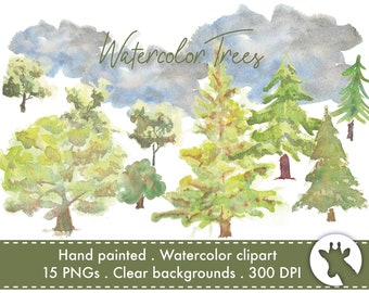 554f852fa Watercolor Trees clipart - individual trees for instant download