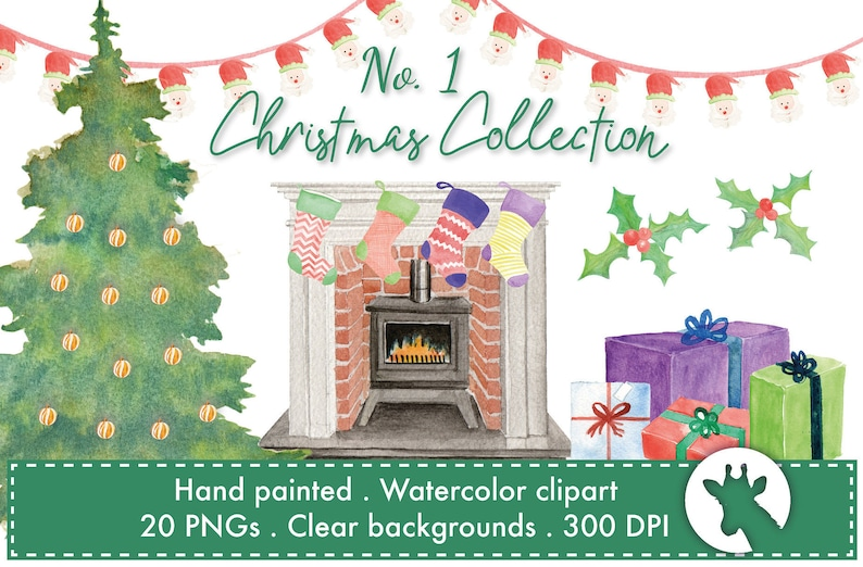 Christmas Fireplace Scene Clipart.Christmas Fire Scene Watercolor Clipart Christmas Tree Baubles Fireplace Stockings Gifts Santa Bunting Holly 20 Png Images
