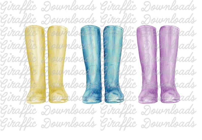 Watercolor Rain boots Wellies gum boots umbrellas brollies clipart  Hand  painted files for instant download with clear backgrounds  11 PNGs